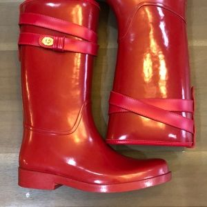 Gently used Red Coach Rain Boots